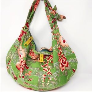 Lucky Brand Green Floral Canvas Hobo Bag